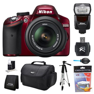 D3200 DX-Format Red Digital SLR Camera 18-55mm and Flash Kit