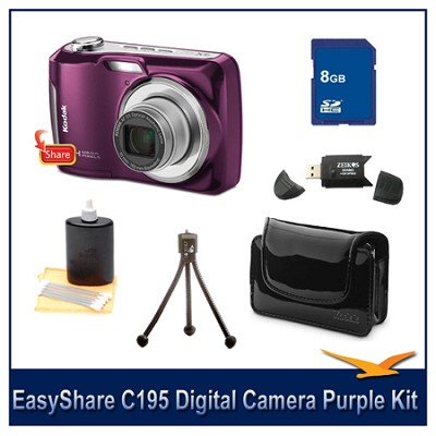 EasyShare C195 Digital Camera Purple 8GB Bundle w/ Case, Reader & More