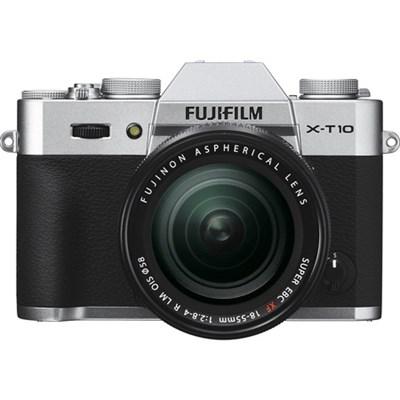 X-T10 Mirrorless Slvr Digital Camera w/ XF18-55mm F2.8-4R LM OIS Lens - OPEN BOX