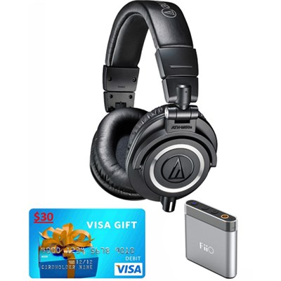 ATH-M50X Professional Studio Headphones w FiiO A1 Amplifier & $30 Visa Gift Card