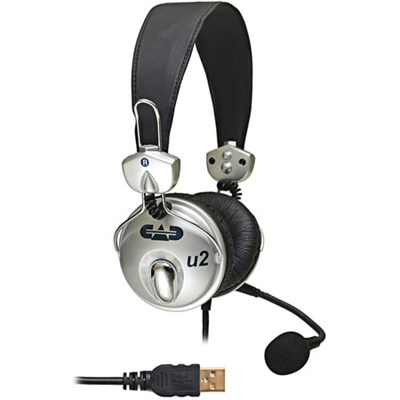 USB Stereo Headphones with Cardioid Condenser Microphone, 6' USB Cable
