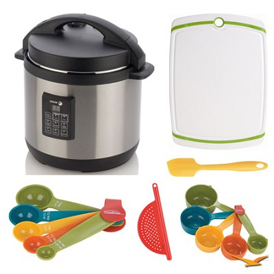 6 Qt. Electric Pressure Cooker PLUS, Cutting Board, and Measuring Sets Bundle