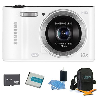 WB30F 16.2 MP 10x optical zoom Digital Camera White 16GB Kit