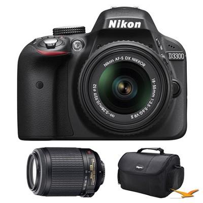 D3300 DSLR HD Black Camera, 18-55mm Lens, 55-200mm VR Lens and Case Bundle