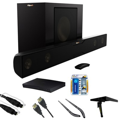 Bluetooth Soundbar with Wireless Subwoofer  Satin Black w/ Blu-ray Player Bundle
