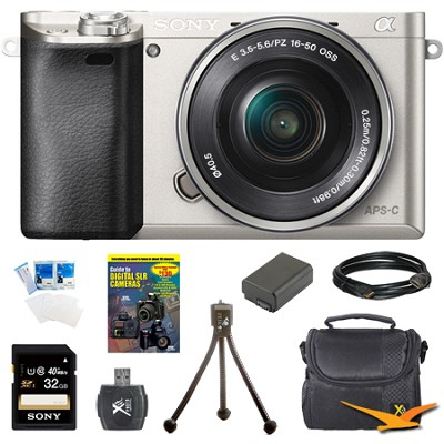 Alpha a6000 Camera Bundle with 16-50mm Lens + 8-Piece 32GB Accessory Kit