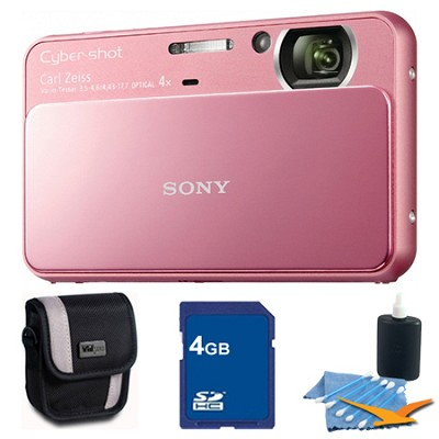 Cyber-shot DSC-T110 Pink Touchscreen Digital Camera 4GB Bundle