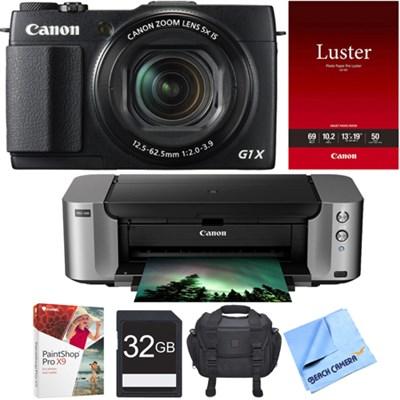 PowerShot G1 X Mark II 12.8MP 1080p Digital Camera PIXMA PRO-100 Printer Bundle
