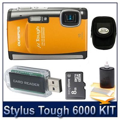 Stylus Tough 6000 10MP 2.7` LCD Digital Camera (Orange) Ultra Savings Bundle