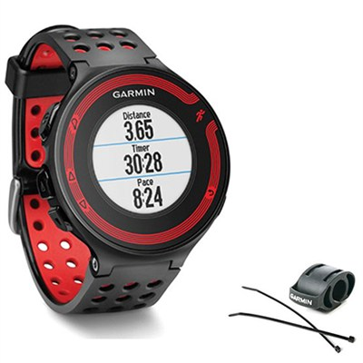Forerunner 220 Black/Red Bundle with Heart Rate Monitor + Bike Mount Kit