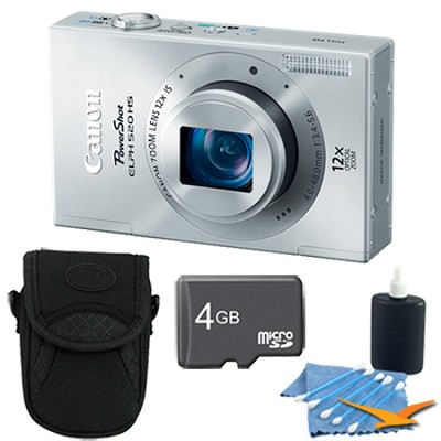 PowerShot ELPH 520 HS Silver 10.1 MP CMOS Digital Camera 12x Zoom 4 GB Bundle