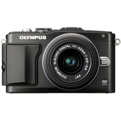 E-PL5 Mirrorless 16MP Digital Camera with FL-LM1 Flash and 14-42mm Lens (Black)