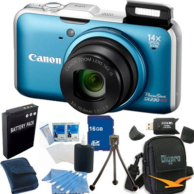 PowerShot SX230 HS Blue Digital Camera 16GB Bundle