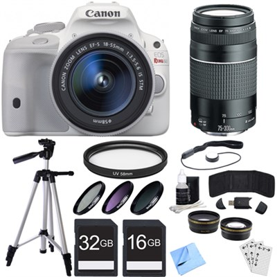 EOS Rebel SL1 Digital SLR with EF-S 18-55mm IS STM Lens White Deluxe Bundle