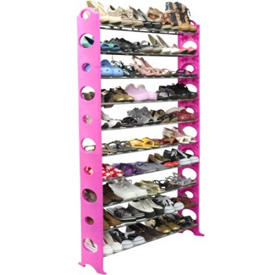 10 Level 50 Pair All-in-One Shoe Rack (Easy to Assemble) in Pink