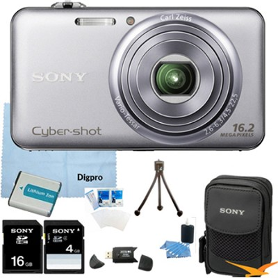 DSC-WX70 - 16.2MP Exmor R CMOS Camera 3.0` LCD 5x Zoom (Silver) 16GB Bundle