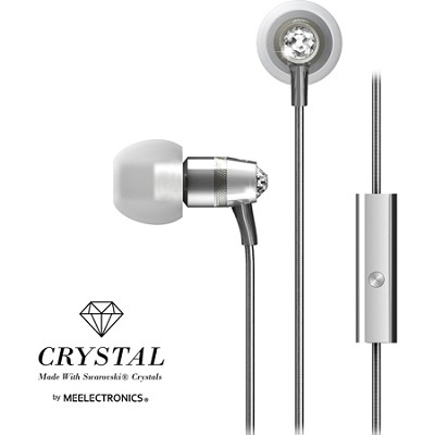 Crystal In-Ear Headphones with Microphone Made with Swarovski Crystals - Silver
