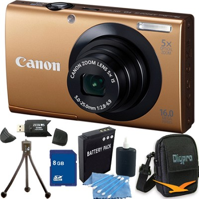 PowerShot A3400 IS 16MP Gold Digital Camera 8GB Bundle
