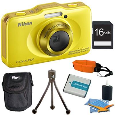 COOLPIX S31 10.1MP 720p HD Video Waterproof Digital Camera Yellow Plus 16GB Kit