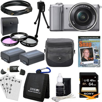 a5000 Compact Interchangeable Lens Camera Silver 16-50mm Lens Essentials Bundle