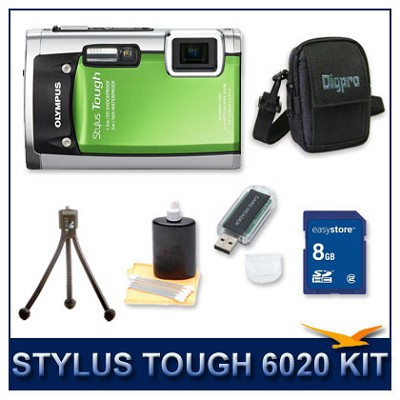 Stylus Tough 6020 Waterproof Shockproof Digital Camera (Green) w/ 8 GB Memory