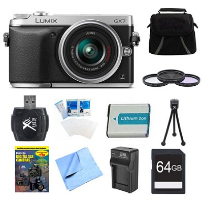 LUMIX DMC-GX7 DSLM Silver Camera with 14-42 II Lens 64GB Bundle