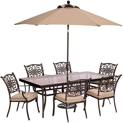 Traditions 7PC Dining Set: 6 Chairs 42 x84  Glass Table UmbStand
