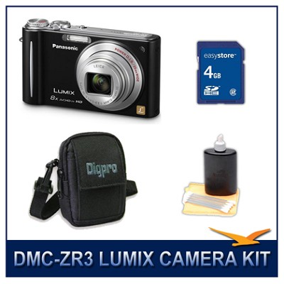 DMC-ZR3K LUMIX 14.1 MP Digital Camera (Black), 4GB SD Card, and Camera Case