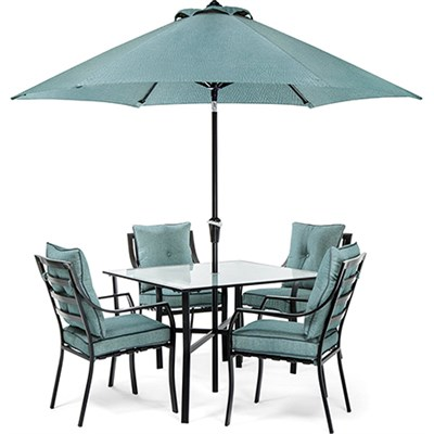 Lavallette 5-Piece Dining Set with Table Umbrella and Stand - LAVDN5PC-BLU-SU