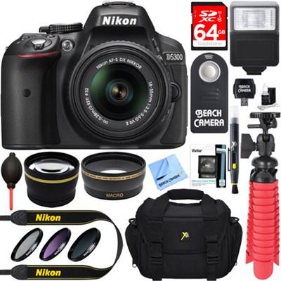 D5300 DX-Format Digital SLR Camera Kit w/ 18-55mm DX VR II Lens + Accessory Kit