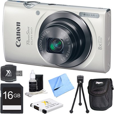 PowerShot ELPH 160 20MP 8x Opt Zoom HD Digital Camera - White 16GB Bundle