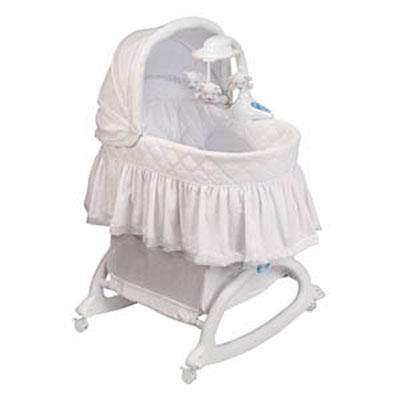 Cuddle 'n Care Rocking Bassinet with Light Vibes Mobile - Creampuff