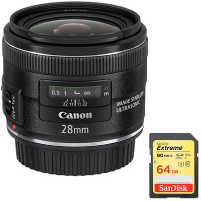 EF 28mm f/2.8 IS USM Wide Angle Lens with Sandisk 64GB SDXC Memory Card