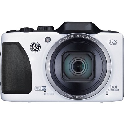 G100-WH Full HD 15X 28mm 3` LCD 14MP White Digital Camera with CMOS Technology