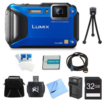 LUMIX DMC-TS6 WiFi Tough Blue Digital Camera 32GB Bundle