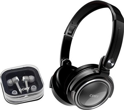 Jammerz 2-in-1 Combo Deep Bass Stereo Headphones & Earphones- Black