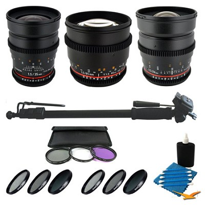 3 T1.5 Lens Bundle 24mm, 35mm, and 85mm with Bonus Filters for Sony Alpha Camera