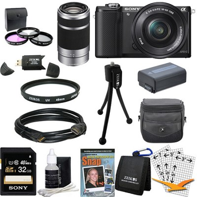 a5000 Compact Interchangeable Lens Camera Black w 16-50mm & 55-210mm Lens Bundle