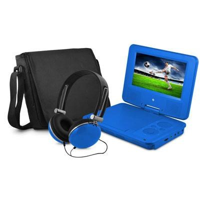 7` Swivel Portable DVD Player with Headphones and Bag in Blue - EPD707BU