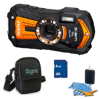 Optio WG-2 Waterproof Digital Camera - Orange 4 GB Bundle