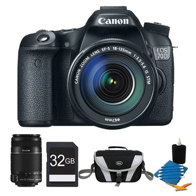 EOS 70D Digital SLR Camera and EF-S 18-135mm Lens and EF-S 55-250mm STM Bundle