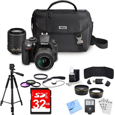 D3300 DX DSLR Camera w/ 18-55mm + 55-200mm DX VR II Zoom Lens Ultimate Bundle