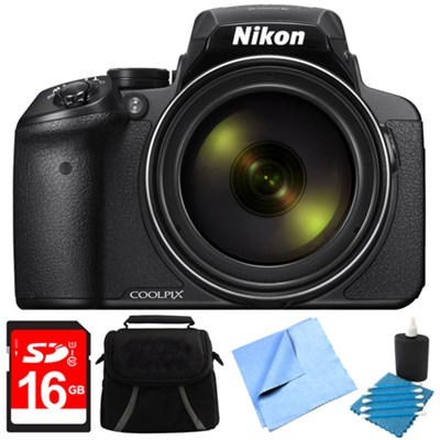 COOLPIX P900 16MP 83x Super Zoom Digital Camera Full HD Black 8GB Bundle
