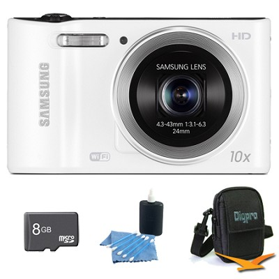 WB30F 16.2 MP 10x optical zoom Digital Camera White 8GB Kit