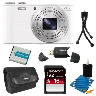 DSC-WX300/W White Digital Camera 16GB Bundle