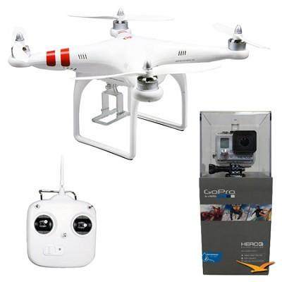 Phantom Aerial UAV Drone Quadcop Multi-rotor System w/ GoPro HD HERO3+ Silver