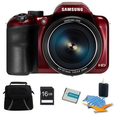 WB1100F 16.2MP 720p HD Video Smart Digital Camera Red 16GB Kit