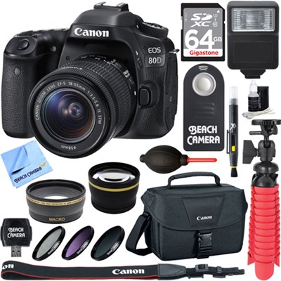 EOS 80D CMOS DSLR Camera w/EF-S 18-55mm F3.5-5.6 IS STM Memory & Flash Kit