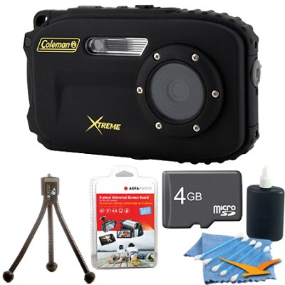 Xtreme C5WP 12MP 33ft Waterproof Camera, Anti-Shake, Face Detection (Black) Kit