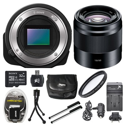 ILCE-QX1/B Interchangeable Lens Style Camera with 50mm f/1.8 Lens 32GB Bundle